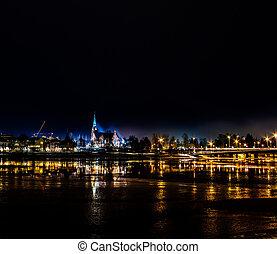 城市, 教堂, 在, umea, 瑞典, 所作, 夜晚