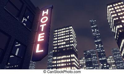 城市, 旅馆, 摩天楼, 大