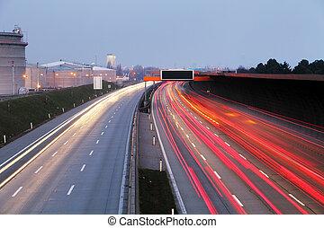 城市, 日落, 光, 摘要, -, 長, 汽車高速公路, 戲劇性, 交通, 高速公路, 背景, 時間, 形跡, 夜晚, 速度, 暴露