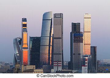 城市, 明亮, 莫斯科, 背景