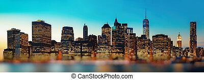 城市, 晚上, 全景, 地平線, 約克, 新