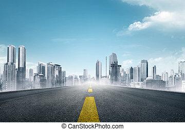 城市, 朝向, 瀝青, 現代, 空, 路