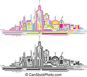 城市, 板, 電路