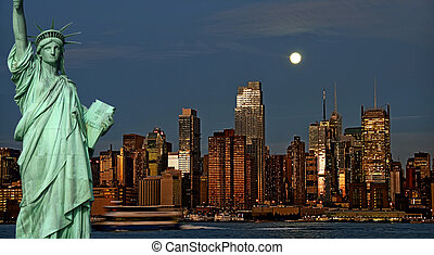 城市, 概念, 約克, 夜晚, 新, 旅遊業