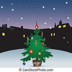 城市, 樹, 聖誕節