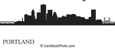 城市, 波特蘭, 黑色半面畫像, 地平線, 背景