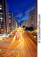 城市, 洪, 城市, 現代, kong, 高速公路, 交通, 夜晚