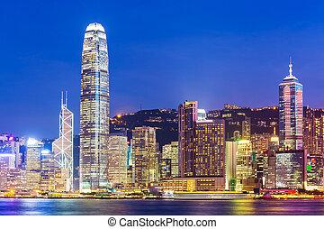 城市, 洪, 港口, kong, 地平線, 摩天樓, 夜晚, 維多利亞