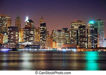 城市, 現代, 場景, 夜晚