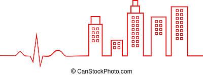 城市, 生活, 概念, 心電圖