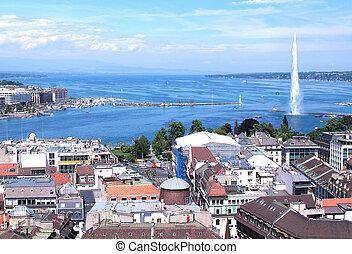 城市, ......的, 日內瓦, the, leman, 湖
