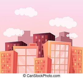 城市, 矢量, 卡通