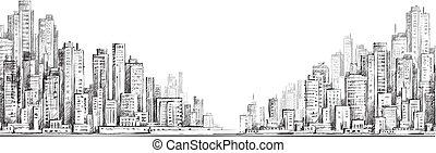 城市, 矢量, 畫, 插圖, 手