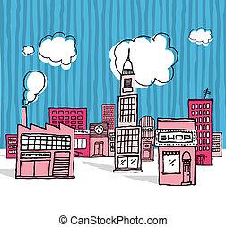 城市, 矢量, 鄰近地區, 卡通, /