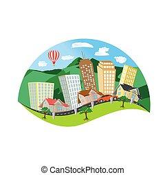 城市, 矢量, 風景, 設計, 套間