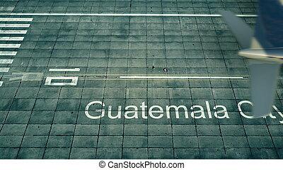 城市, 空中, 旅行, rendering, 危地馬拉, 到達, 機場。, 飛機, 看法, 3d