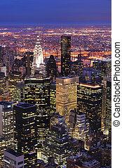 城市, 空中, 黃昏, 地平線, 約克, 新, 曼哈頓, 看法