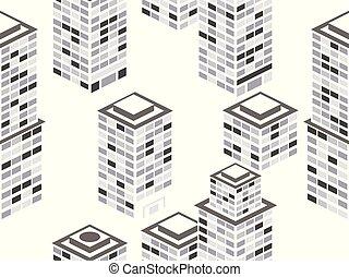 城市, 等量, 建筑物, pattern., seamless, 插圖, 矢量, 黑色, colors., 都市風景, 白色, metropolis.