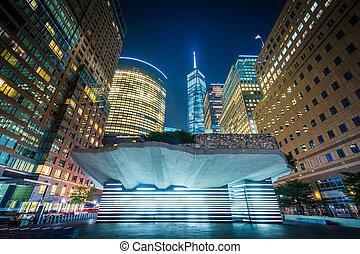 城市, 紀念館, 飢餓, 電池公園, 建筑物, 降低, york., 新, 曼哈頓, 夜晚, 愛爾蘭語