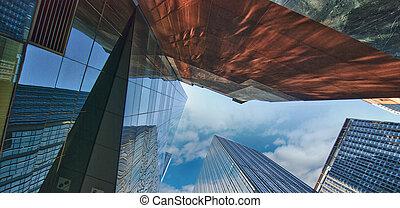 城市, 約克, 摩天樓, 新, 反映