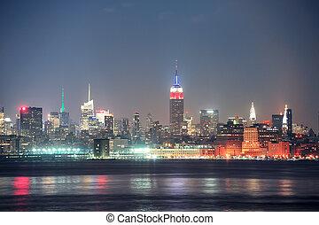 城市, 約克, 曼哈頓, 新, 夜晚