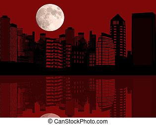 城市, 紅色, 夜晚