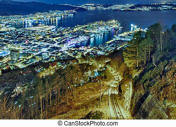 城市, 纖維, 夜晚, 卑爾根, 挪威,  floibanen