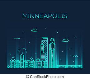 城市, 美國, 明尼蘇達, minneapolis, 地平線, 矢量