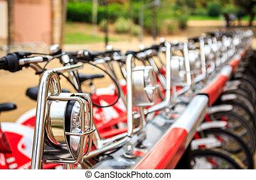 城市, 自行車, 在一行中