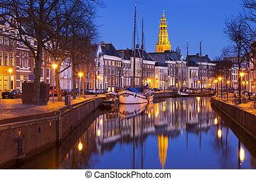 城市, 荷蘭, a-kerk, groningen, 夜晚