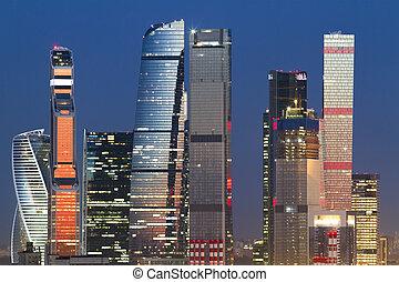 城市, 莫斯科, 背景, 夜晚