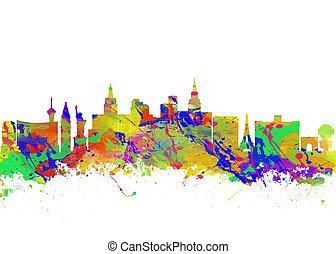 城市, 藝術, 美國, 水彩, 地平線,  vegas, 印刷品, 內華達,  las