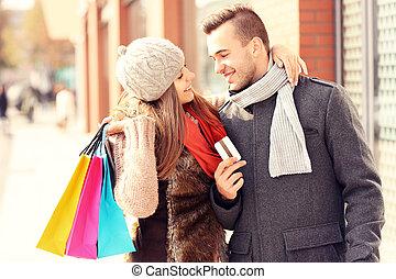 城市, 購物, 夫婦, 年輕, 信用卡