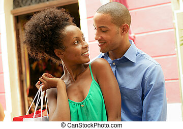 城市, 购物, 夫妇, 美国人, african, 肖像, 巴拿马