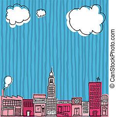 城市, 鄰近地區, /, 手, 地平線, 矢量, 畫, 卡通, 或者