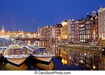 城市, 阿姆斯特丹, 夜晚