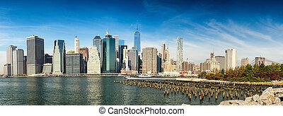 城市, 降低, 約克, 新, 曼哈頓, 反映