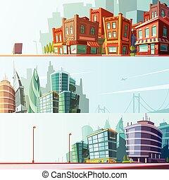 城市, 集合, 地平線, 3, 水平的旗子