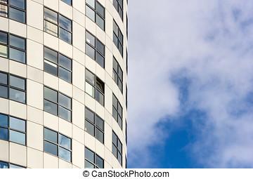城市, 風景, -, 意見從以下, 上, 玻璃, 摩天樓, 在, 市區, 鹿特丹