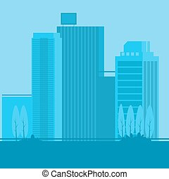 城市, 風景, 矢量, 卡通, 插圖
