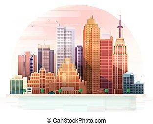 城市, 风景。, 矢量, illustration.