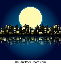 城市, 风格, 夜晚, 卡通漫画, skyline.