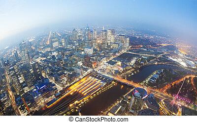 城市, 黃昏, cbd, 看法