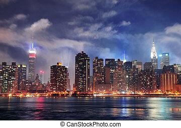 城市, 黃昏, midtown, 約克, 新, 曼哈頓