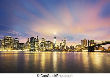 城市, 黃昏, midtown, 約克, 新, 曼哈頓, 看法