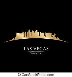 城市, 黑色半面畫像, 地平線, vegas, 黑色的背景, 內華達, las