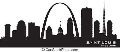 城市, 黑色半面畫像, 路易斯, 地平線, 矢量, 聖徒, 密蘇里