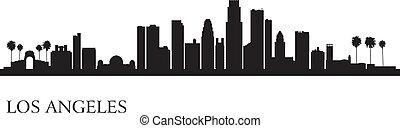 城市, 黑色半面畫像, angeles, los, 地平線, 背景