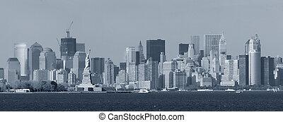 城市, 黑色, 約克, 新, 白色, 曼哈頓