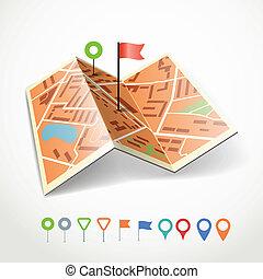 城市, 點, 顏色, 摘要, 摺疊, 彙整, 地圖, 別針